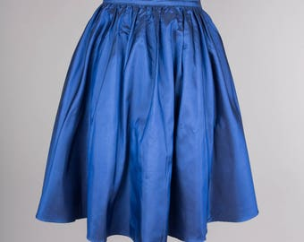 1980s blue taffeta vintage party skirt