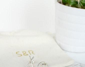 Sterling Silver XO Stud earrings - TEXTURE Collection - Friendship Jewellery - Minimalist Jewellery - Graphic Jewellery
