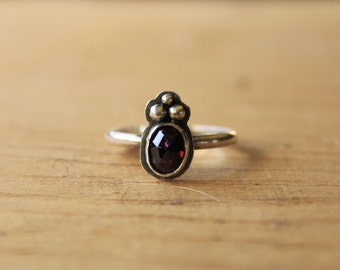 Rose Cut Oval Deep Red Garnet and Fine Sterling Silver Ring Size 7.25