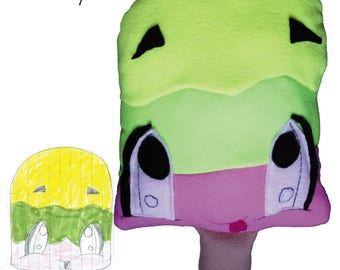 Custom Plush Toy made from Kids Artwork, custom stuffed animal