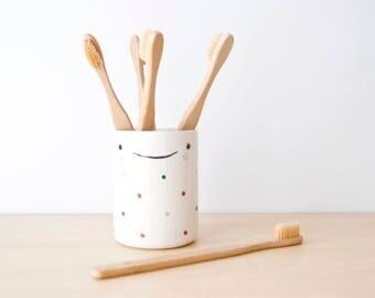 Ceramic pencil holder, Ceramic pencil cup, Ceramic toothbrush holder, Desk accessories organization, Ceramics pottery, bathroom accessories