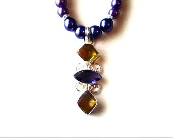 Amethyst and Citrine Necklace, Amethyst and Citrine Pendant, Sterling Silver Citrine and Amethyst Pendant and Glass Bead Necklace