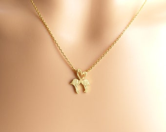 valentines day gift .Love heart Flamingo necklace, Wedding gift,kissing flamingo necklace,kids necklace,Christmas present,Holiday gift