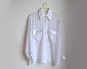 White Sheer Chiffon Blouse Womens Vintage Button Up Top Long Sleeve Large L XL
