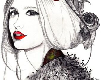 Portrait femme bouche rouge. Watercolor painting