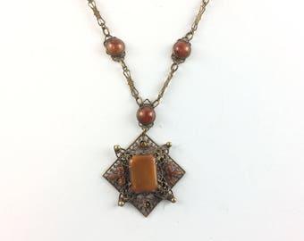 Vintage Czech Art Deco Necklace Enamel Leaves Brass Filigree Carnelian Glass Pendant Antique Estate Jewelry Czechoslovakian Necklace Czecho