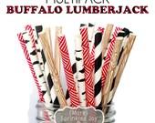 BUFFALO LUMBERJACK Paper Straws, Party Decor, Wood Straws, Lumberjack Party, Woodland Theme, Birch, Birthday Baby Shower, Wedding, Baby