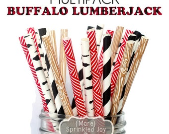 BUFFALO LUMBERJACK Paper Straws, Party Decor, Wood Straws, Lumberjack Party, Woodland Theme, Birch, Birthday Baby Shower, Wedding, Baby