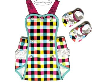 Baby Girl Romper, Rainbow Romper, Handmade Baby Shoes, Ruffle romper, Check romper, Baby Shower Gift, girls sunsuit, ruffled romper