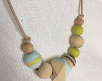Wood bead hand painted necklace adjustable leather neon yellow pale blue charcoal gray