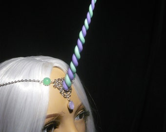 Waterflowers Unicorn - Tiara with handsculpted pearlescent horn - Princess LUna