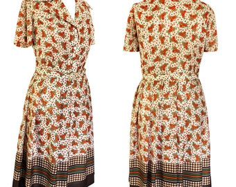 Vintage 1970's Country Girl flower print shirt dress | Flower dress | 70s Dress | 70s shirt dress