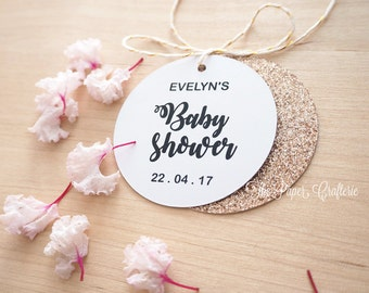 Personalised Baby Shower Tags White Rose Gold Glitter Party Favours - Pack of 30