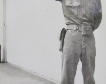 World War II Soldier Armed And Ready Snapshot Photograph - Free Shipping