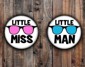 Little Miss and Little Man gender reveal pins.  Blue and Pink glasses.