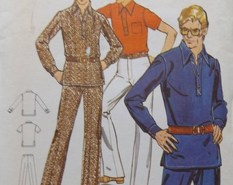 """Shirt with Front Button Tab Closing, Spread Collar and Straight-Legged Pants in Size 18 Chest 35"""" Uncut/FF Butterick Sewing Pattern 6095"""