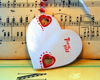 Thank you, Ceramic Heart, Hand Painted & Decorated. Best Friends, Weddings, Valentine, Anniversary, Wedding Gift, Bride Gift, Wedding Favour