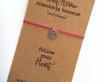 HEART ARROW Friendship Bracelet ~ Hand Stamped silver aluminum disc ~ Waxed Cotton Cord ~ Follow Your Heart ~ adjustable~ choose a color