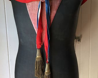 1800s pair antique French bullion tassels with patriotic silk taffeta ribbon