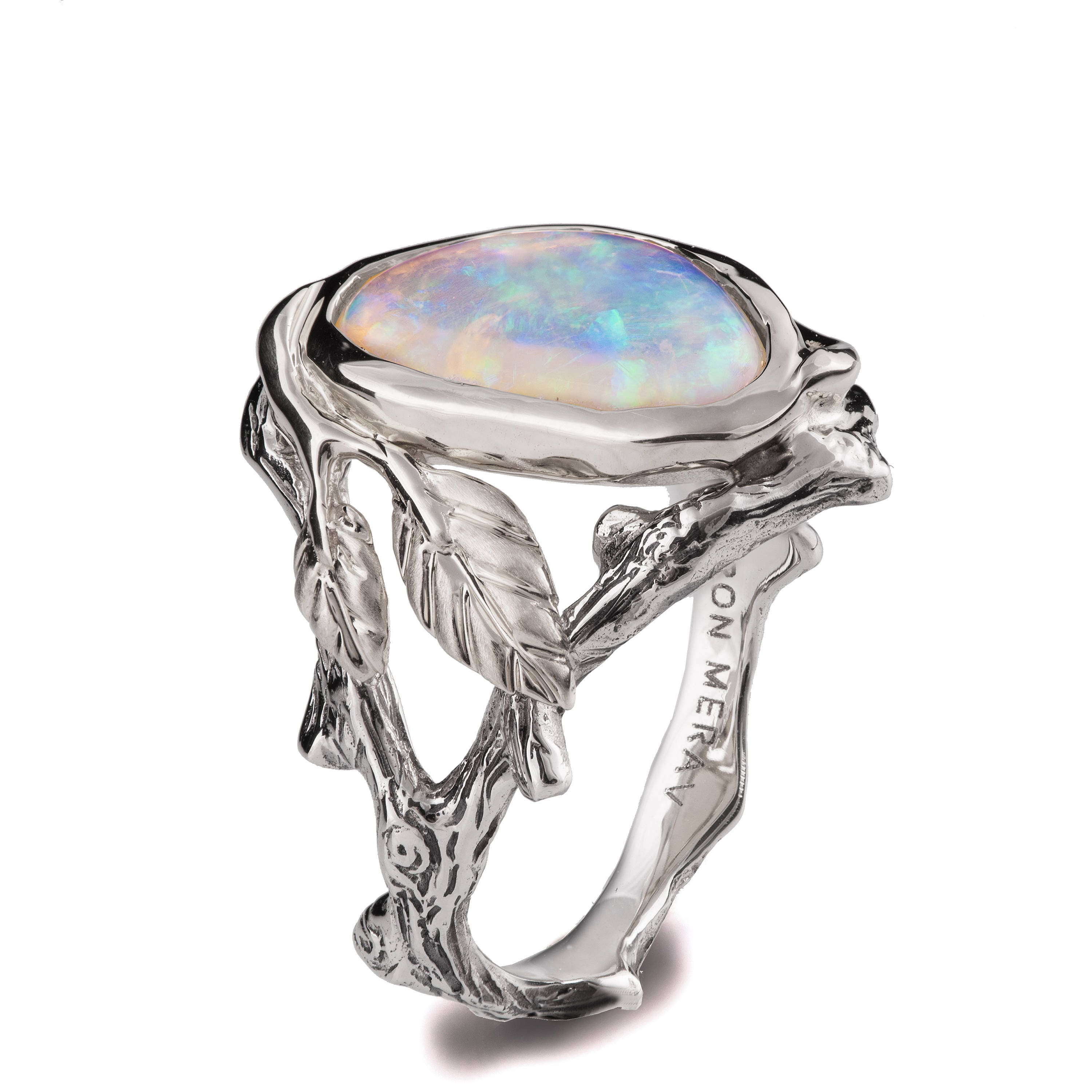Twig and Leaf Engagement Ring 18K Two Tone Gold and Opal