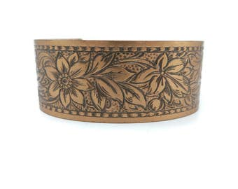 Vintage Copper Cuff Bracelet, Etched, Flower Design