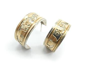 Vintage Offina Pino Hoop Earrings, Navajo, Sterling Silver, 12K Gold Fill, Storyteller Earrings, Southwestern, Posts, Signed