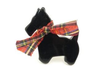 Vintage Scottish Terrier Brooch, Black Lucite, Tartan Bow, Scottie Dog