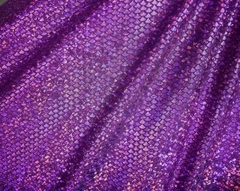 Purple Fish Scale Spandex Fabric Holographic Mermaid Sparkly Shimmery Glistening Violet Orchid Octopus Sea Nymph Holo Goddess (By the Yard)