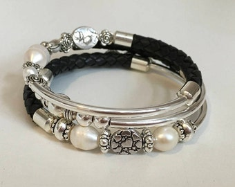 Black Leather Silver and Pearl Wire Wrap Bracelet