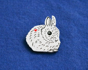 Wooden brooch rabbit white badge pin alice in wonderland heart