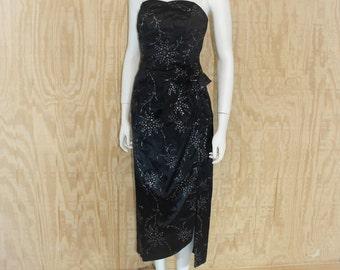 Vintage 1980's LORALIE ORIGINAL Black Satin Metallic Strapless 3-D Bow 1950's Inspired Wiggle Evening Dress XS / S