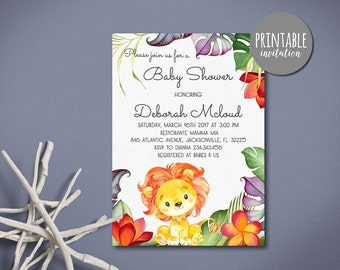 Lion Baby Shower Invitation Jungle Baby Shower Invitation Tropical Girl Boy Baby Shower Invitation Safari Baby Shower Invitation Printable
