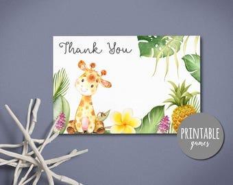 Baby Shower Thank you Card, Giraffe Thank you Card, Printable thank you card, Birthday Thank you card, Safari baby shower card Jungle