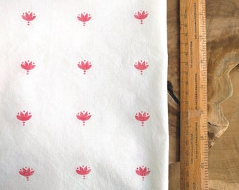 Red Block Print Fabric, Boho Fabric | Indian lotus flower hand block printed cotton, rustic print on pure white cotton, red and white fabric