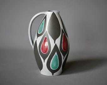 SWISS Mid Century Vase, Luzerner Ceramic Vase or Pitcher, Black White Red Green Ceramic Vase, Swiss Art Studio Pottery, German Mid Century