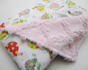 Clearance!  Turtle Minky Baby Blanket - Pink Lattice - Ready to Ship
