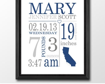birth announcement navy gray, personalized baby boy gifts, birth stats print, baby boy nursery, new baby boy gift, baby boy room decor