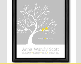new baby print birds on a branch, birth announcement, new baby gift, birth stats print, baby keepsake, birth date print, baby stats wall art