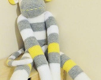 Large cuddly crochet sock monkey