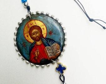 original icon in shape cycle.JESUS CHRIST.handpainted icon.decor religius