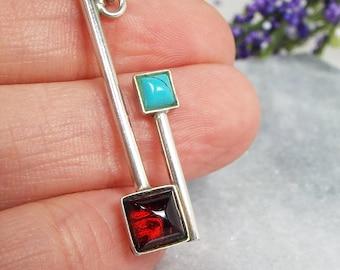 Vintage / Sterling Silver Modernist Garnet and Turquoise Pendant Necklace 925