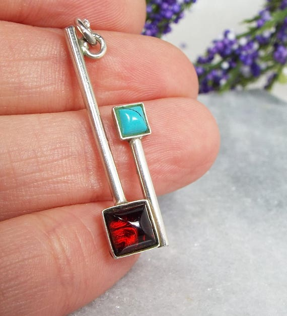 Vintage / Sterling Silver Modernist Garnet and Turquoise Pendant Necklace 925