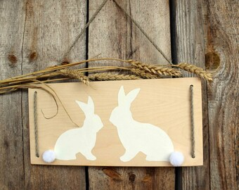Easter Decoration Easter Bunny Easter Decor Rustic Easter Wood Sign Easter Gift Ideas Basket Easter Hanger Egg Hunt Basket Wooden Rabbit