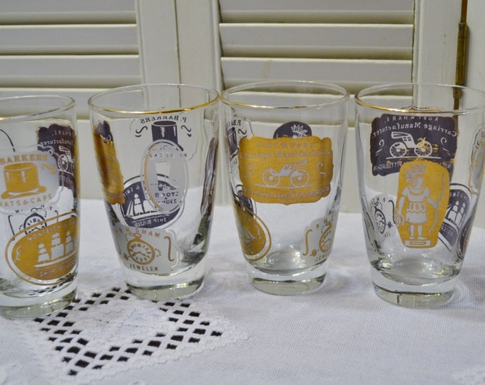 Vintage Libbey Glass Tumbler Old Store Signs Advertising Gold White Set of 4  Panchosporch