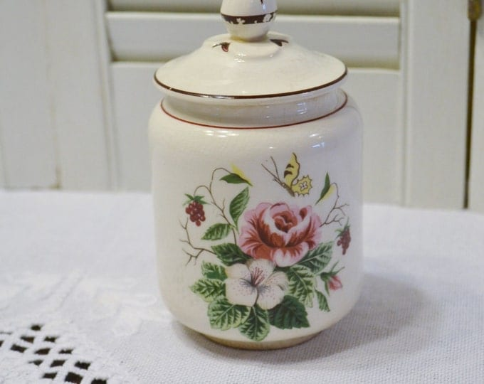 Vintage Knowles Sugar Bowl with Lid Pink Floral Butterfly Shabby Cottage Kitchen PanchosPorch