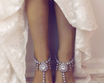 Alina Barefoot Sandals Rhinestone Shoes Beach Wedding Sandals Foot Jewelry Bridal Anklet Silver Ankle Bracelet Bridal Accessory Foot Thong