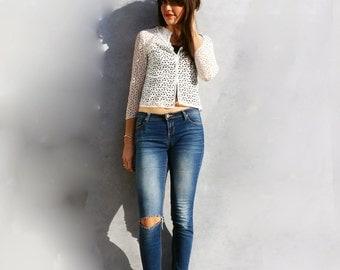 Lace Blouse, Vintage Lace Blouse, Chic Lace Shirt, White Lace Shirt, White Lace Top, 60s Lace Blouse, 60s Cotton Blouse, Floral Boho Blouse