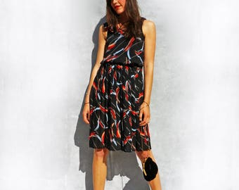 Black Dress, Vintage Black Dress, Wedding Guest Dress, 70s Dress, Striped Dress, Midi Dress, Boho Dress, Black Summer Dress, One Shoulder