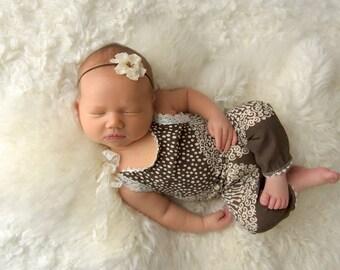 Newborn Romper, Newborn Photo Prop, Baby Girl Photo Outfit, Newborn Props, Baby Girl Romper, New Born Photo Prop, Brown, Cream, Baby Jumper