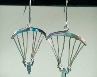 Silver paragliding earrings, pendant